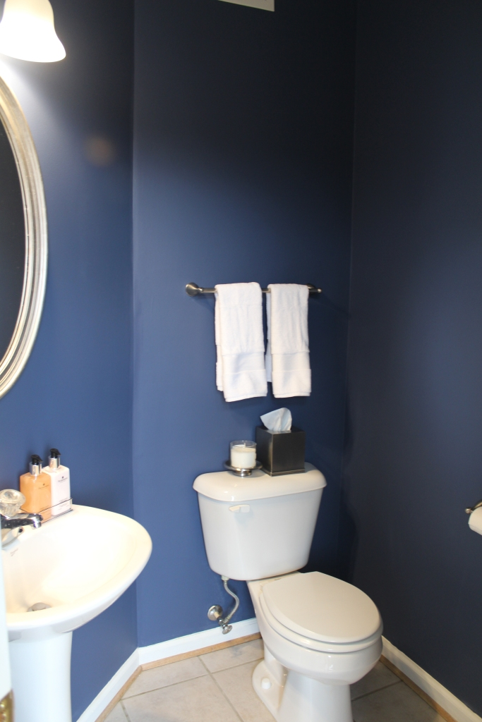 Powder Room refresh = success! English Channel by BEHR.