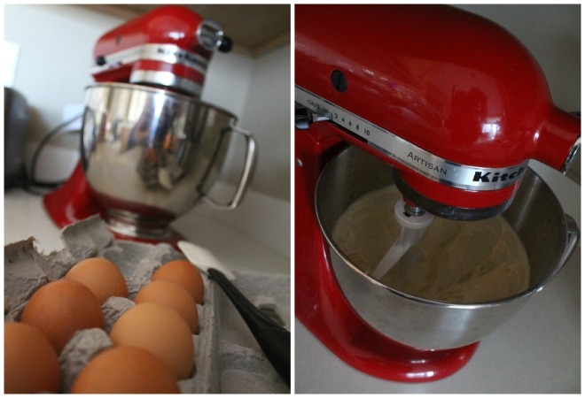 Using the Kitchenaid to combine the wet and dry ingredients.