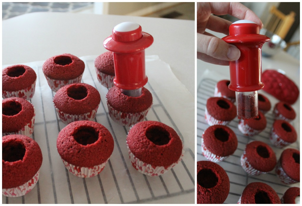 Using a cupcake corer to remove the centers of the cupcakes.