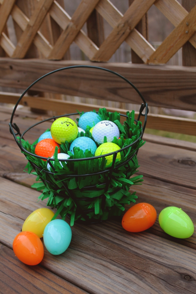 The bunny has laid golf ball eggs in a variety of  Easter colors!