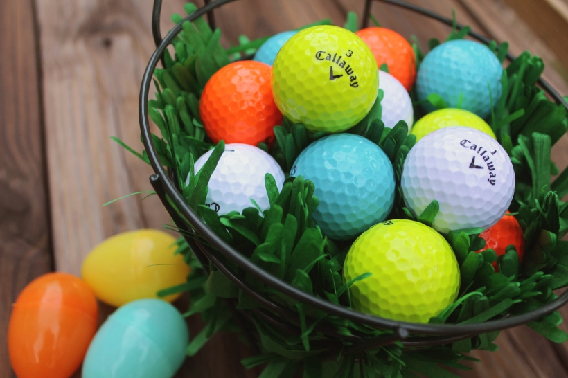 """For the """"Easter Eggs"""" I used Callaway Supersoft Multi-Colored Golf Balls"""