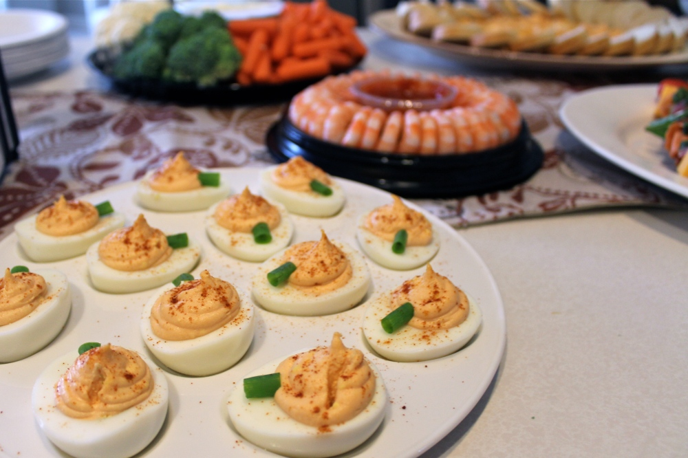 Bryan's famous deviled eggs, Halloween style!